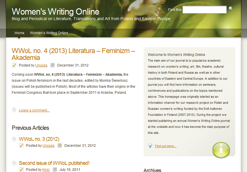 Women's Writing Online : Arts and Literature in Russia and Eastern Europe